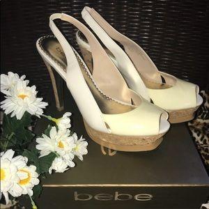 Bebe Zahara Platform Slingback Peep-toe Heels